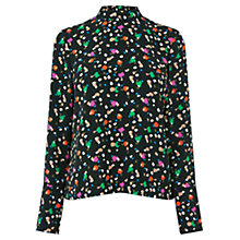 Buy Warehouse Geometric Party Print Top, Black Online at johnlewis.com
