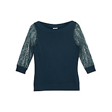 Buy Precis Petite Gabby Lace Sleeve Jumper, Dark Green Online at johnlewis.com