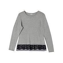 Buy Precis Petite Millie Lace Detail Jumper, Grey Online at johnlewis.com