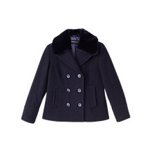 Buy Precis Petite Mary Wool Faux Fur Collar Coat, Navy Online at johnlewis.com