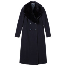 Buy Precis Petite Nanette Faux Fur Collar Long Coat, Navy Online at johnlewis.com