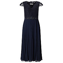 Buy Jacques Vert Pleated Embellished Midi Dress, Navy Online at johnlewis.com