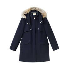 Buy Precis Petite Aubrey Faux Fur Hood Duffle Coat, Navy Online at johnlewis.com