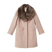 Buy Precis Petite Stacy Faux Fur Collar Coat, Light Neutral Online at johnlewis.com
