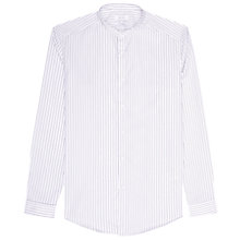 Buy Reiss Bryce Stripe Grandad Collar Shirt, White Online at johnlewis.com