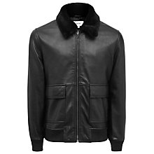 Buy Reiss River Faux Fur Collar Leather Jacket, Black Online at johnlewis.com
