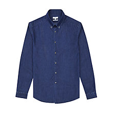 Buy Reiss Kasba Chambray Slim Fit Shirt, Indigo Online at johnlewis.com
