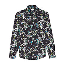 Buy Reiss Ventus Floral Print Slim Fit Shirt, Black Online at johnlewis.com