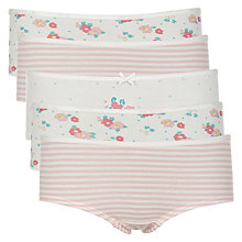 Buy John Lewis Girls' Floral and Stripe Print Hipster Briefs, Pack of 5, White/Multi Online at johnlewis.com