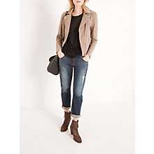 Buy AND/OR Leather Biker Jacket, Taupe Online at johnlewis.com