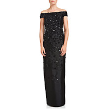Buy Adrianna Papell Fully Beaded Off Shoulder Gown, Black Online at johnlewis.com