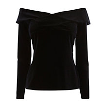 Buy Coast Gata Velvet Bardot Top, Black Online at johnlewis.com