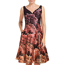 Buy Adrianna Papell Printed Mikado Tea Length Dress, Black/Multi Online at johnlewis.com