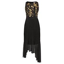 Buy Coast Ervina Jacquard Pleated Dress, Black Online at johnlewis.com