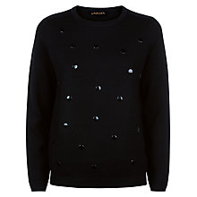 Buy Jaeger Wool Embellished Spot Jumper, Black Online at johnlewis.com