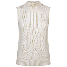 Buy Jaeger Wool Cable Knit Tank Top, Ivory Online at johnlewis.com