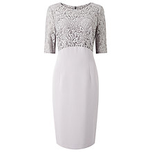 Buy Jacques Vert Lace and Crepe Dress, Mid Grey Online at johnlewis.com