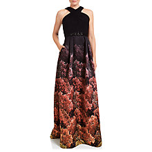 Buy Adrianna Papell Halter Jersey Print Mikado Gown, Black/Multi Online at johnlewis.com