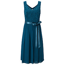 Buy Jacques Vert Cutwork Belted Dress, Dark Green Online at johnlewis.com