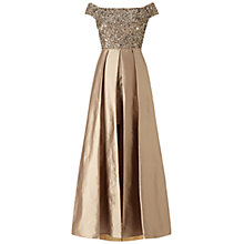 Buy Adrianna Papell Off Shoulder Overskirt Gown, Antique Bronze Online at johnlewis.com