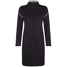 Buy Jaeger Cotton Jersey Polo Dress, Black/Charcoal Online at johnlewis.com