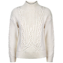 Buy Jaeger Wool Cable Knit Jumper, Ivory Online at johnlewis.com