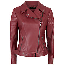 Buy Jaeger Leather Biker Jacket, Winter Berry Online at johnlewis.com