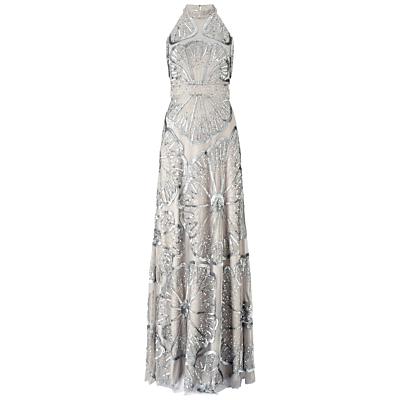 1920s Formal Dresses Guide Adrianna Papell Halter Turtleneck Beaded Gown Platinum £170.00 AT vintagedancer.com