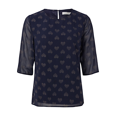 Sugarhill Boutique Alley Gold Heart Dot Top, Navy