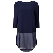 Buy Phase Eight Kady Double Layer Chiffon Top, Navy Online at johnlewis.com