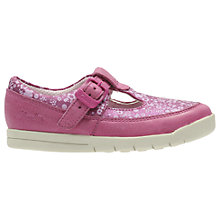 Buy Clarks Children's Crazy Tale T-Bar Shoes, Hot Pink Online at johnlewis.com