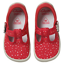 Buy Clarks Children's Doodles Choc Cake Canvas Shoes, Pink/White Online at johnlewis.com