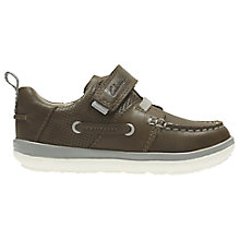 Buy Clarks Children's First Softly Boat Shoes, Brown Online at johnlewis.com