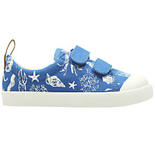 Buy Clarks Children's Halcy Beach Print Rip-Tape Canvas Shoes, Blue Online at johnlewis.com