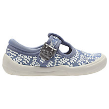 Buy Clarks Children's Briley Bow Leaf Print Canvas Shoes, Denim Blue Online at johnlewis.com