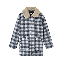 Buy Mango Kids Girls' Checked Mohair Blend Coat, Night Blue Online at johnlewis.com