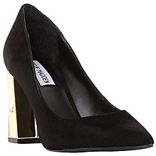 Buy Steve Madden Pointur Block Heeled Court Shoes, Black Online at johnlewis.com