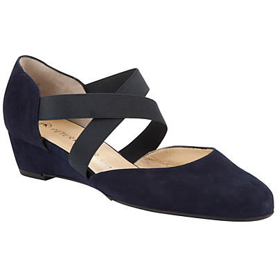 Peter Kaiser Jaila Cross Strap Wedge Heeled Court Shoes, Navy