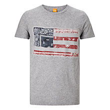 Buy BOSS Orange Tayé Graphic Print T-Shirt, Light Pastel Grey Online at johnlewis.com