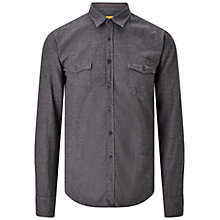 Buy BOSS Orange Edoslime Brushed Cotton Slim Fit Shirt, Charcoal Online at johnlewis.com