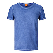 Buy BOSS Orange Tour Acid Wash T-Shirt, Turquoise/Aqua Online at johnlewis.com