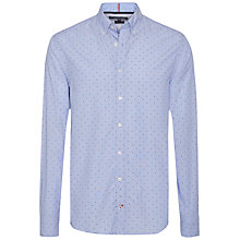 Buy Tommy Hilfiger Dot Print Cotton Poplin Fitted Shirt, Blue/Navy/Red Online at johnlewis.com