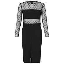 Buy Miss Selfridge Spot Mesh Insert Dress, Black Online at johnlewis.com
