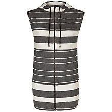 Buy Jaeger Cotton Jersey Stripe Gilet, Black/Ivory Online at johnlewis.com