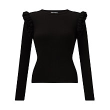 Buy Miss Selfridge Ruffle Shoulder Jumper, Black Online at johnlewis.com