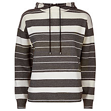 Buy Jaeger Cotton Stripe Jumper, Black/Ivory Online at johnlewis.com