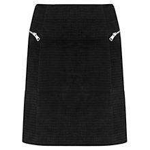 Buy Mint Velvet Suede Embossed Croc Skirt, Black Online at johnlewis.com