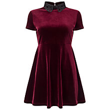 Buy Miss Selfridge Petite Velvet Dress, Burgundy Online at johnlewis.com