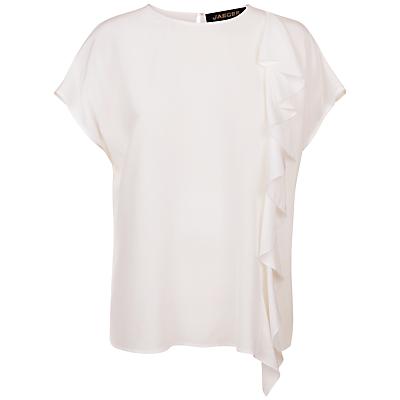 Jaeger Cascade Silk Drape Top, Ivory