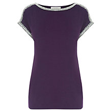 Buy Oasis Embellished Roll Sleeve T-Shirt, Dark Purple Online at johnlewis.com